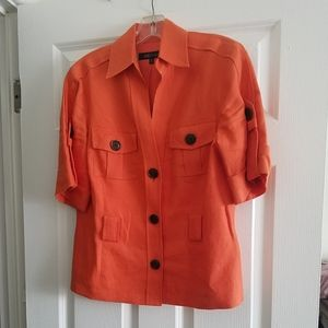 Anne Klein Orange Short Sleeve Button Down Shirt